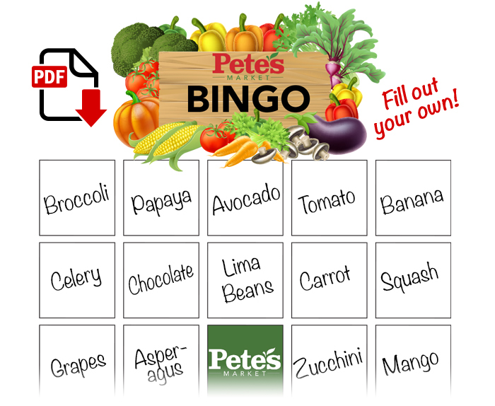 Food Bingo Card Preview